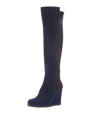 Stuart Weitzman Demiswoon Suede/Stretch Wedge Boot, Nice Blue/Black
