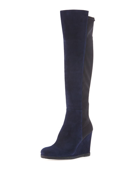 stuart weitzman demiswoon suede stretch wedge boot