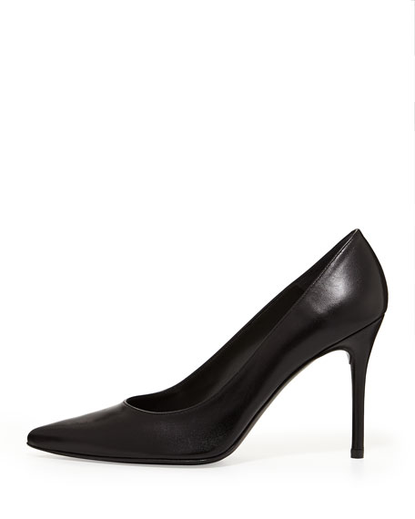 Flirt Leather Point-Toe Pump, Black