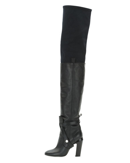 Diana Over-the-Knee Leather Boot, Nero