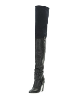 Fendi Diana Over-the-Knee Leather Boot, Nero