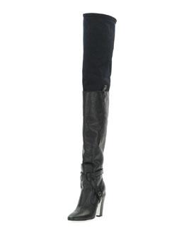 Fendi Diana Over-the-Knee Leather Boot, Nero