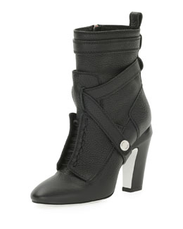 Fendi Diana Harness Ankle Boot, Nero