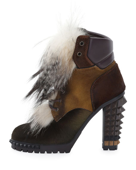Spike-Heel Mixed Fur Hiker Boot