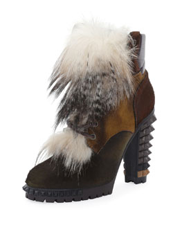 Fendi Spike-Heel Mixed Fur Hiker Boot