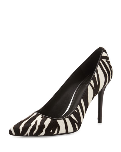 Stuart Weitzman Pipeflirt Calf Hair Pump, Black/White Zebra