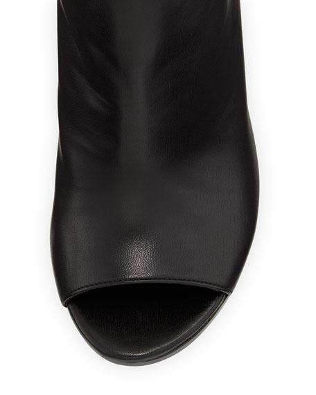 Hereitis Peep-Toe Leather Bootie, Black