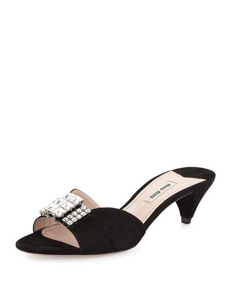 Miu Miu Crystal & Suede Kitten Heel Slide, Black
