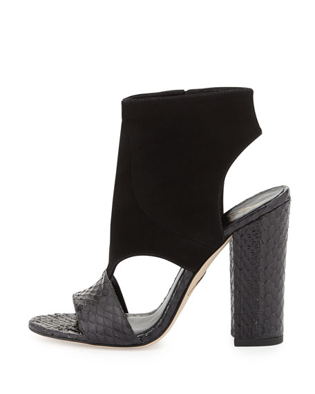 Biella Suede and Snake Sandal