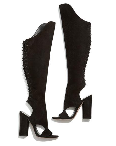 Brissa Peep-Toe Lace-Back Knee Boot