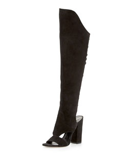 B Brian Atwood Brissa Peep-Toe Lace-Back Knee Boot