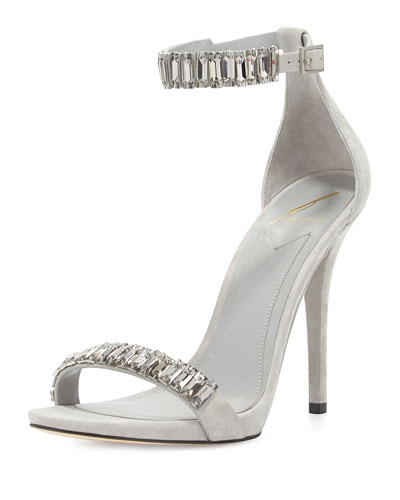 B Brian Atwood Ciara Jeweled Suede Sandal, Gray