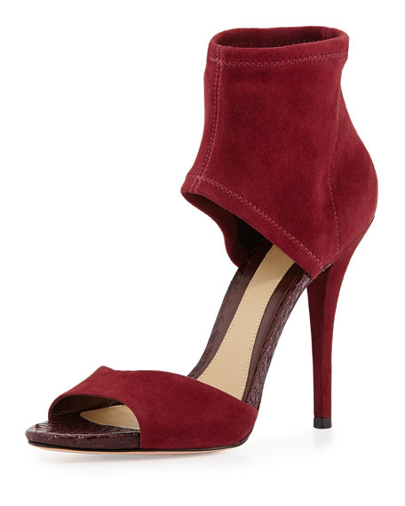 Correns Suede Ankle-Band Sandal, Crimson