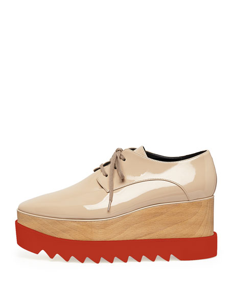 Faux-Leather Platform Oxford, Nude