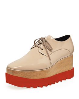 Stella McCartney Faux-Patent Platform Oxford, Nude
