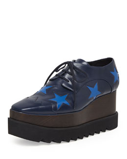 Stella McCartney Faux-Leather Star Platform Oxford, Navy/Bluebird