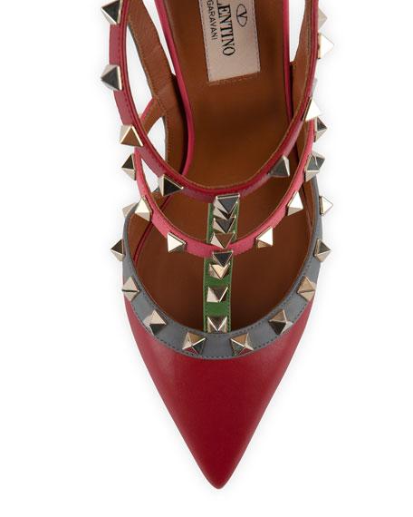 Rockstud Multicolor Slingback Sandal, Rosso/Grigio/Clover
