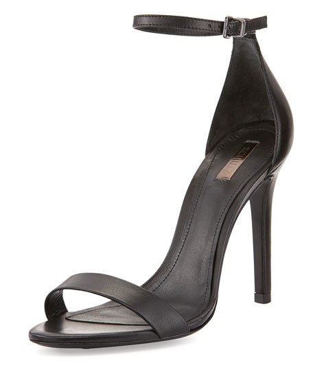 Cadey-Lee Leather Ankle-Strap Sandal, Black