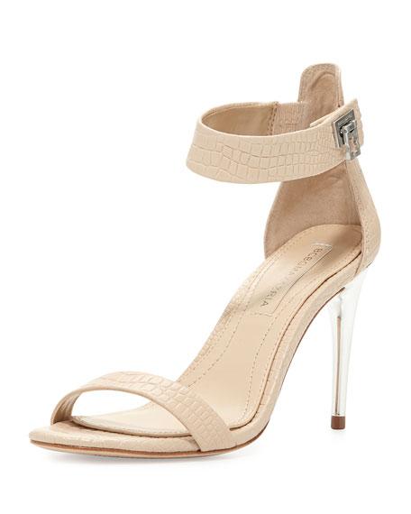 Polaris Croc-Embossed Ankle-Strap Sandal, Parfait