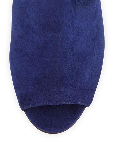 Rio Crisscross-Back Suede Sandal, Dark Blue