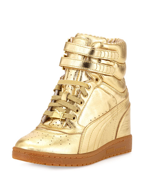 Rime Sky Wedge Leather High-Top Sneaker, Gold