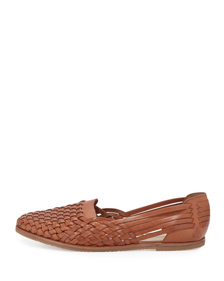 Adera Woven Leather Flat, Deep Saddle