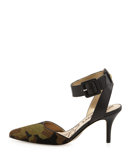 Okala Camo Calf-Hair & Leather Ankle-Wrap Pump, Olive/Black