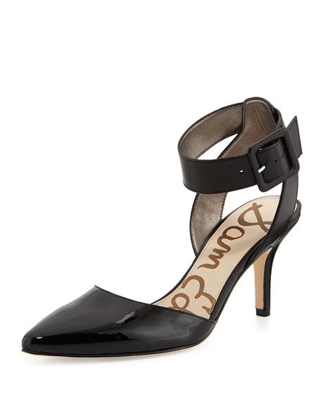 Okala Faux Patent Ankle-Wrap Pump, Black