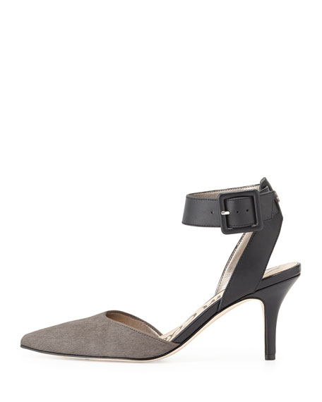 Okala Calf-Hair & Leather Ankle-Wrap Sandal, Sharkskin/Black
