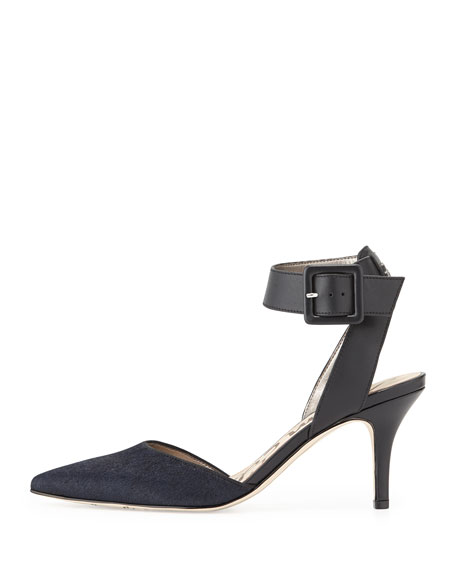 Okala Calf-Hair & Leather Ankle-Wrap Sandal, Inky Navy/Black