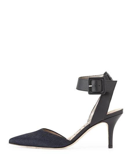 Okala Calf-Hair & Leather Ankle-Wrap Sandal, Inky Navy/Black