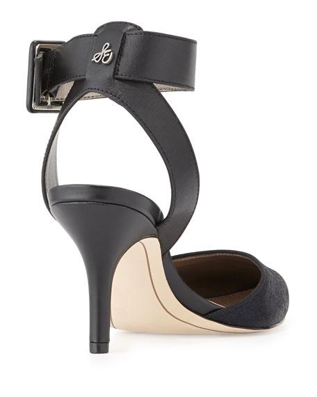 82d849dac0bb Sam Edelman Okala Calf-Hair   Leather Ankle-Wrap Sandal