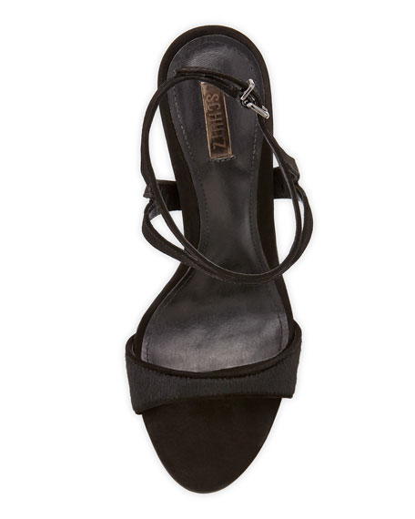 Ocrisia Strappy Calf Hair Sandal, Black