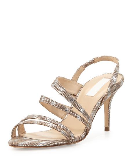 Addie Lizard Strappy Sandal, Silver