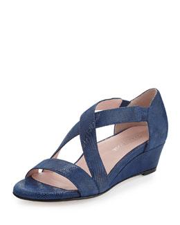 Taryn Rose Saraia Crisscross Demi-Wedge Sandal, Delf Blue