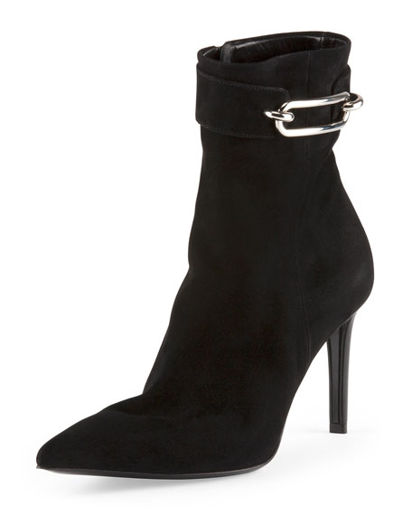 Suede Buckle-Strap Ankle Boot, Noir