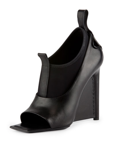 Balenciaga Neoprene and Leather Wedge Sandal, Noir