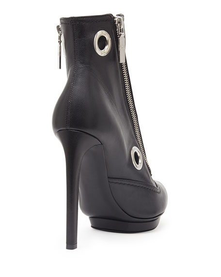Eyelet & Zip Leather Ankle Boot, Black