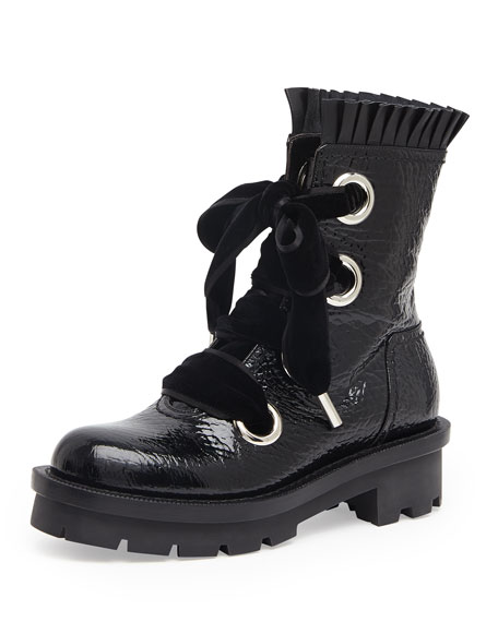 Patent Leather Lace-Up Combat Boot, Black