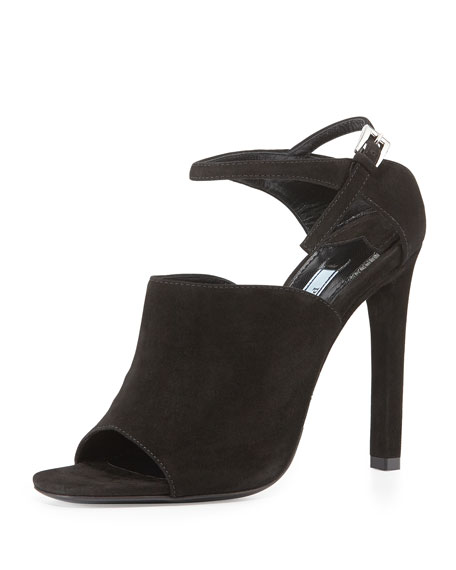 Prada Suede Wide-Band Sandal, Black