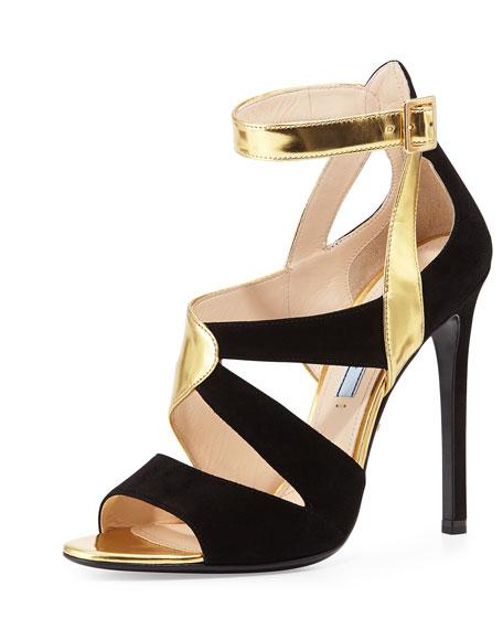 Prada Suede & Metallic Crisscross Sandal, Gold/Black