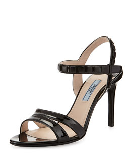 Prada Simple Patent Sandal with Studs