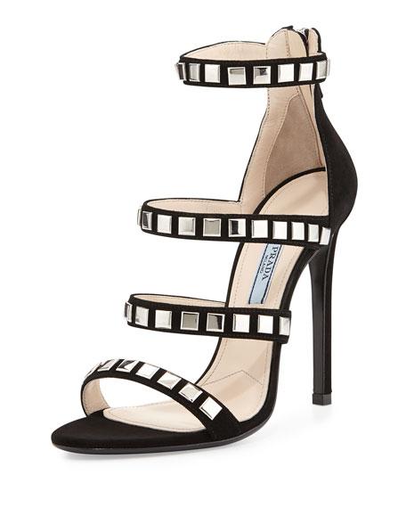 Prada Square-Stud Suede Sandal, Black