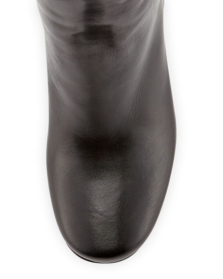 Stacked-Heel Buckled Knee Boot