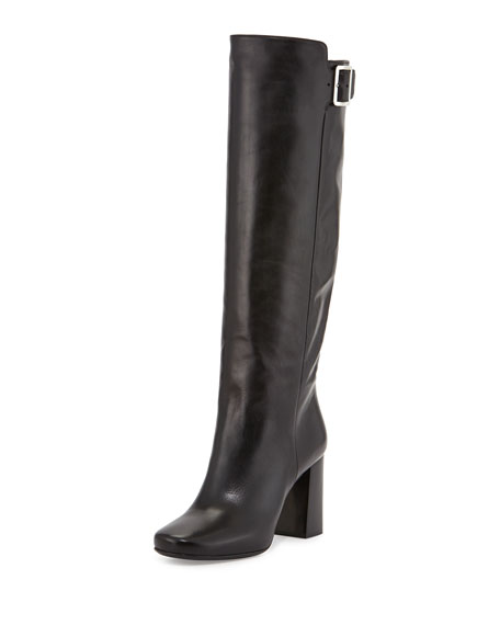 Stacked-Heel Buckled Knee Boot