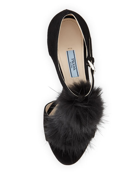 Suede T-Strap Fur Sandal, Nero