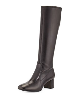 Prada Low-Heel Stretch Leather Knee Boot