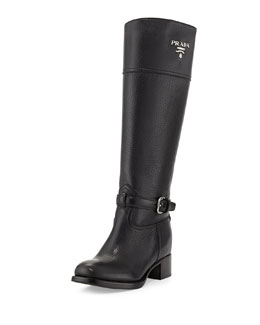 Prada Pebbled Logo Knee Boot, Nero
