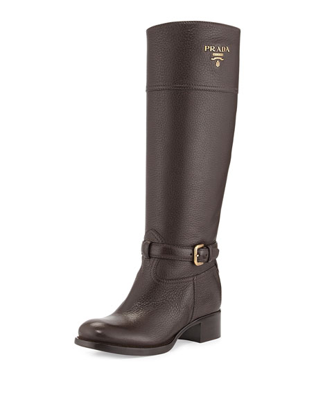 Pebbled Logo Knee Boot