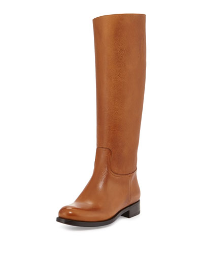 Prada Saffiano Leather Riding Boot, Caramel